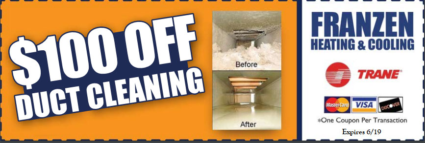 Get 100 dollars off a duct cleaning with this coupon
